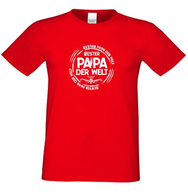 Family T-Shirt - Bester Papa der Welt - Hemd als passendes Geschenk oder tolles Outfit für Deinen Vater - rot