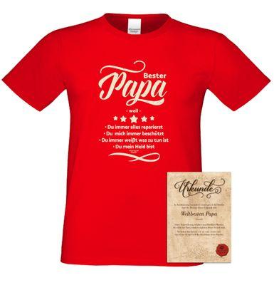 Family T-Shirt - Bester Papa weil - bedrucktes Hemd als passendes Geschenk oder Outfit für Deinen Vater - rot Bild 2
