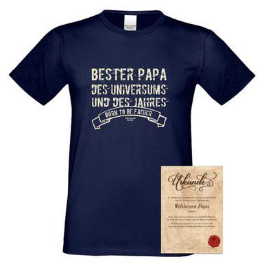 Family T-Shirt - Bester Papa des Universums - Hemd als passendes Geschenk oder Outfit für Deinen Vater - blau 2 Bild 2