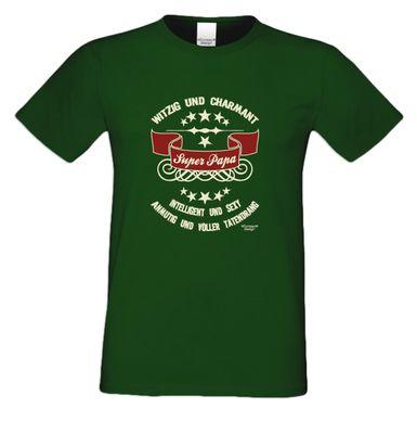 Family T-Shirt - Super-Papa - bedrucktes Hemd als passendes Geschenk oder Outfit für Deinen Vater - grün 2