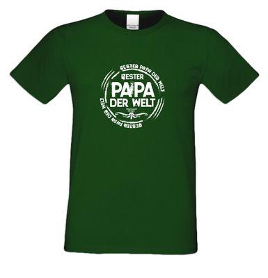 Family T-Shirt - Bester Papa der Welt - Hemd als passendes Geschenk oder Outfit für Deinen Vater - grün 1