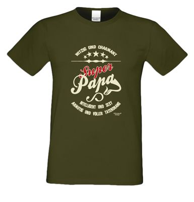 Family T-Shirt - Super Papa - bedrucktes Hemd als passendes Geschenk oder Outfit für Deinen Vater - grün 2