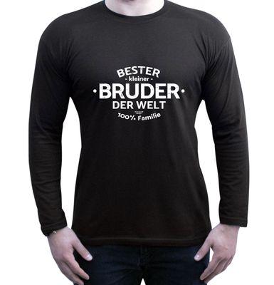 Family Langarmshirt - Bester kleiner Bruder der Welt - Longsleeve als Geschenk oder tolles Outfit für Brüder - schwarz