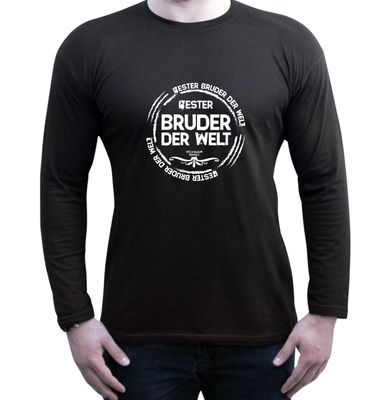 Family Langarmshirt - Bester Bruder der Welt - Longsleeve als passendes Geschenk oder Outfit für Brüder - schwarz