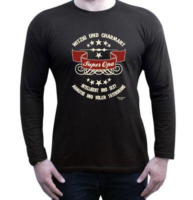 Family Langarmshirt - Super Opa - Longsleeve als passendes Geschenk oder tolles Outfit für Deinen Großvater - schwarz 3