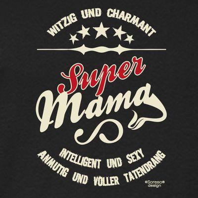 Family Damen T-Shirt - Super Mama - bedrucktes Damenshirt als tolles Geschenk oder Outfit für Deine Mutter - schwarz Bild 2
