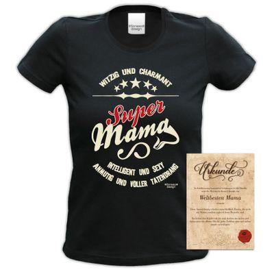 Family Damen T-Shirt - Super Mama - bedrucktes Damenshirt als tolles Geschenk oder Outfit für Deine Mutter - schwarz Bild 5