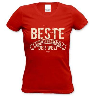 Family Damen T-Shirt - Beste Schwiegermama der Welt - Damenshirt als Geschenk oder Outfit für die Schwiegermutter - rot