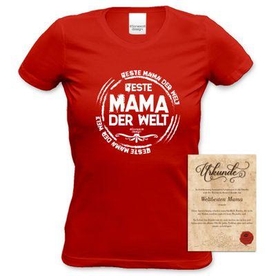 Family Damen T-Shirt - Beste Mama der Welt - bedrucktes Damenshirt als Geschenk oder Outfit für Deine Mutter - rot Bild 5