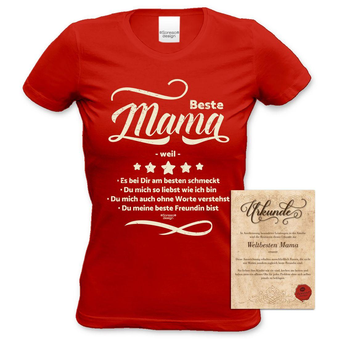 Damen T-Shirt - Beste Mama weil - Damenshirt Geschenk Mutter rot ...