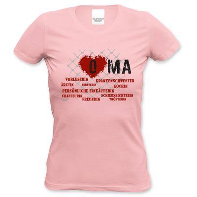 Family Damen T-Shirt - Herz Oma rosa - bedrucktes Damenshirt als Geschenk oder Outfit für Deine Großmutter - rosa