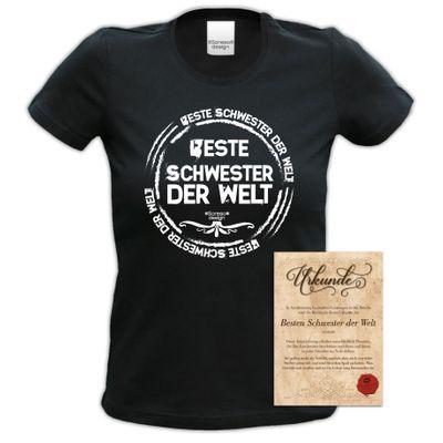 Family Damen T-Shirt - Beste Schwester der Welt - Damenshirt als Geschenk Outfit für die Lieblingsschwester - schwarz Bild 5