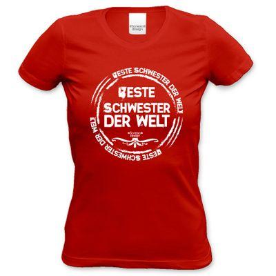 Family Damen T-Shirt - Beste Schwester der Welt - Damenshirt als Geschenk oder Outfit für die Lieblingsschwester - rot