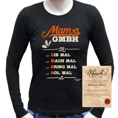Family Damen Langarmshirt - Mama GmbH - bedruckter Lady Longsleeve als Geschenk oder Outfit für Deine Mutter - schwarz Bild 5