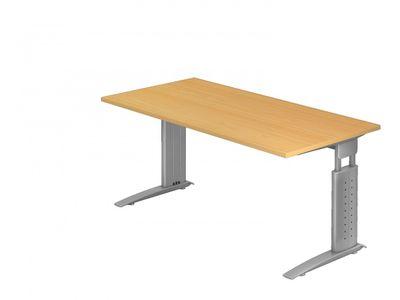 DR-Büro Bürotisch - Größe 160 x 80 cm - Stahlgestell in silber - Schreibtisch höhenverstellbar 68 - 86 cm - in 7 Farbvarianten - mit horizontaler Kabelwanne  – Bild 5