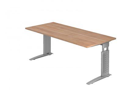 DR-Büro Bürotisch - Größe 180 x 80 cm - Stahlgestell in silber - Schreibtisch höhenverstellbar 68 - 86 cm - in 7 Farbvarianten - mit horizontaler Kabelwanne  – Bild 6