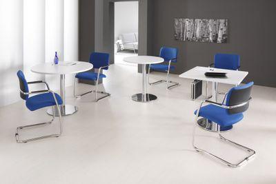 DR-Büro Säulentisch Durchmesser Tischplatte 80 cm - Bürotisch Höhe 74,5 cm - in 7 Farbvarianten erhältlich - Stahlgestell verchromt - Besprechungstisch  – Bild 7