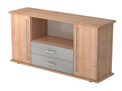 DR-Büro Sideboard Nago - Board mit den Maßen 166 x 44,8 x 84 cm - mit 2 Schubladen und 2 Türen - Büroschrank in 5 Farbvarianten  – Bild 1