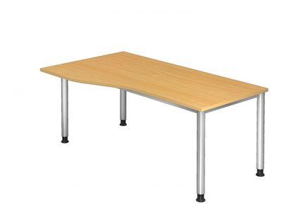 DR-Büro Bürotisch - Größe 180 x 100 cm - Stahlgestell in silber - Schreibtisch höhenverstellbar 68 - 76 cm - links/rechts montierbar - in 7 Farbvarianten – Bild 3