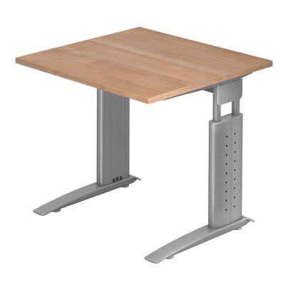 DR-Büro Bürotisch - Größe 80 x 80 cm - Stahlgestell in silber - Schreibtisch höhenverstellbar 68 - 86 cm - in 7 Farbvarianten - mit horizontaler Kabelwanne  – Bild 4