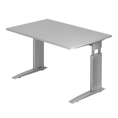 DR-Büro Bürotisch - Größe 120 x 80 cm - Stahlgestell in silber - Schreibtisch höhenverstellbar 68 - 86 cm - in 7 Farbvarianten - mit horizontaler Kabelwanne  – Bild 4