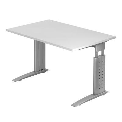 DR-Büro Bürotisch - Größe 120 x 80 cm - Stahlgestell in silber - Schreibtisch höhenverstellbar 68 - 86 cm - in 7 Farbvarianten - mit horizontaler Kabelwanne – Bild 7