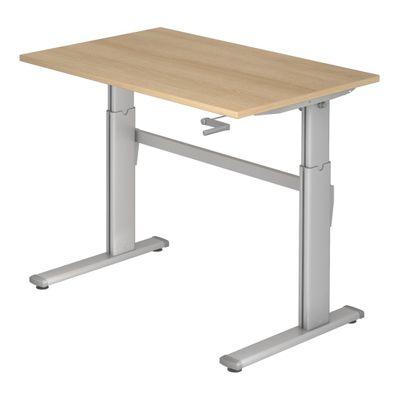 DR-Büro Stand-up Bürotisch höhenverstellbar bis maximal 119 cm - 120 x 80 cm - silbergraues Stahlgestell - Kurbelantrieb 1-stufig - Schreibtisch in 7 Farben erhältlich – Bild 6