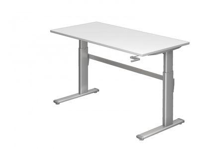 DR-Büro Höhenverstellbarer Bürotisch bis maximal 119 cm - 160 x 80 cm - Stahlgestell in silbergrau - Schreibtisch in 7 Farben lieferbar - 1-stufiger Kurbelantrieb – Bild 2
