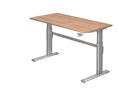 DR-Büro Höhenverstellbarer Bürotisch bis maximal 119 cm - 160 x 80 cm - Stahlgestell in silbergrau - Schreibtisch in 7 Farben lieferbar - 1-stufiger Kurbelantrieb – Bild 6