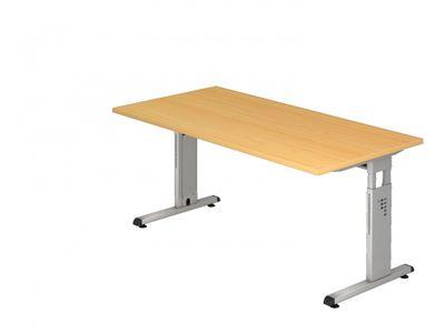 DR-Büro Bürotisch in 7 Farbvarianten lieferbar - Schreibtisch in der Größe 160 x 80 cm - Arbeitshöhe von 65 bis 85 cm verstellbar - Gestell silber - mit horizontaler Kabelwanne – Bild 6