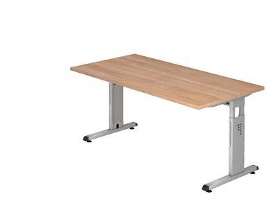 DR-Büro Bürotisch in 7 Farbvarianten lieferbar - Schreibtisch in der Größe 160 x 80 cm - Arbeitshöhe von 65 bis 85 cm verstellbar - Gestell silber - mit horizontaler Kabelwanne – Bild 8