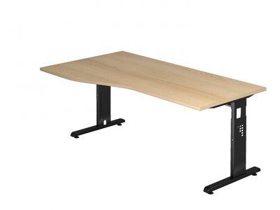 DR-Büro Bürotisch in 7 Farbvarianten lieferbar - Größe 180 x 100 cm - Arbeitshöhe von 65 bis 85 cm verstellbar - Gestell schwarz - Schreibtisch links/rechts montierbar – Bild 2