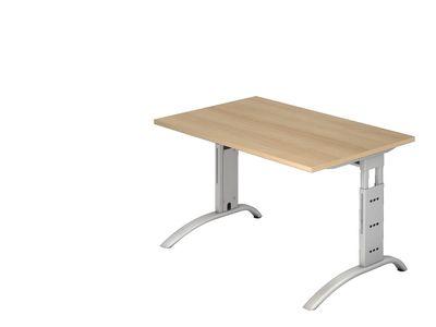 Schreibtisch DR-Büro - Maße 120 x 80 cm - Gestell silber - höheneinstellbar 65 - 85 cm - Bürotisch in 7 Farbvarianten - Kabelwanne – Bild 2