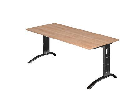 Schreibtisch DR-Büro - Maße 180 x 80 cm - Gestell schwarz - höheneinstellbar 65 - 85 cm - Bürotisch in 7 Farbvarianten - Kabelwanne – Bild 7