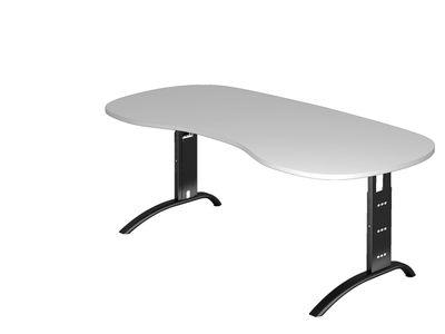 Nierenförmiger Schreibtisch DR-Büro Serie F - 200 x 100 - einstellbar 65 bis 85 cm - 7 Farben - Kabelwanne – Bild 6