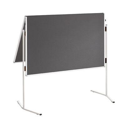 Moderationstafel 120 x 150 - DR-Büro klappbar Filzbezug blau oder grau - Pinnwand beidseitig - Rahmen Alu weiß  – Bild 2
