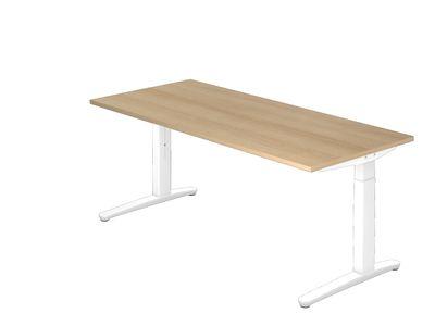 Schreibtisch DR-Büro Serie XB - Maße 180 x 80 cm - Gestell weiß - höhenverstellbar - Kabelwanne