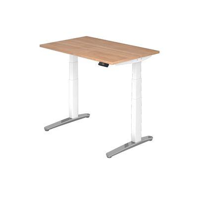 Steh Sitz Schreibtisch DR-Büro Serie XBHM - 120 x 80 - Gestell weiß - elektrisch höhenverstellbar - 2 Motoren – Bild 6