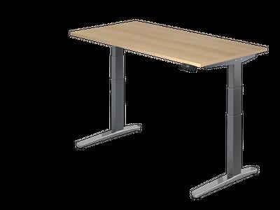 Steh Sitz Schreibtisch DR-Büro Serie XBHM - 160 x 80 - Gestell Graphit - elektrisch höhenverstellbar - 2 Motoren – Bild 2