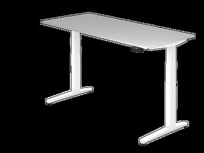 Steh Sitz Schreibtisch DR-Büro XBHM - Maße 180 x 80 cm - Metallgestell weiß - Bürotisch elektrisch höhenverstellbar - 2 Motoren – Bild 4