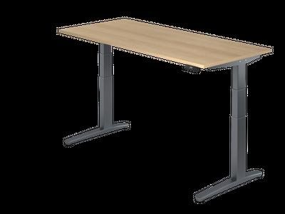 Steh Sitz Schreibtisch DR-Büro Serie XBHM - 180 x 80 - Gestell Graphit - elektrisch höhenverstellbar - 2 Motoren – Bild 1