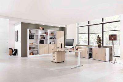 Steh Sitz Schreibtisch DR-Büro XBHM - Maße 200 x 100 cm - Metallgestell weiß - Bürotisch elektrisch höhenverstellbar - 2 Motoren – Bild 10