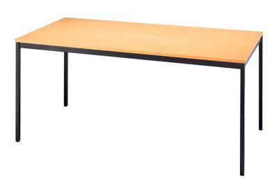 Besprechungstisch V-Serie DR-Büro - Maße 160 x 80 cm - erweiterbares Tischsystem Buche - Tischfuß und Rahmen schwarz, eckig - Meetingtisch Höhe einstellbar 72 cm  – Bild 1