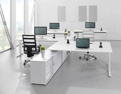 DR-Büro Schreibtisch zur Auflage auf ein Sideboard - in 7 Farbvarianten erhältlich - Größe 160 x 80 cm - Arbeitshöhe 72 / 75 / 78 cm - Bürotisch mit weißem T-Fuß-Gestell – Bild 9