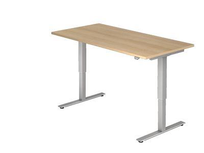 DR-Büro Steh-Sitzschreibtisch elektrisch höhenverstellbar bis max. 119 cm - Maße 160 x 80 cm - silberfarbenes Stahlgestell - Bürotisch in 7 Farbvarianten erhältlich – Bild 2