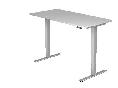 DR-Büro Steh-Sitzschreibtisch elektrisch höhenverstellbar bis max. 128 cm - Maße 160 x 80 cm - silberfarbenes Stahlgestell - Bürotisch in 7 Farbvarianten erhältlich – Bild 8