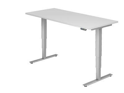 DR-Büro Steh-Sitzschreibtisch elektrisch höhenverstellbar bis max. 128 cm - Maße 200 x 100 cm - silberfarbenes Stahlgestell - Bürotisch in 7 Farbvarianten erhältlich – Bild 8
