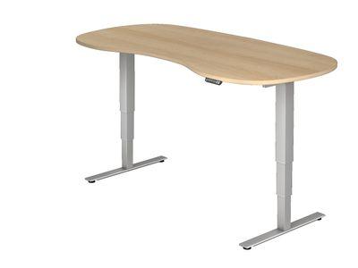 DR-Büro Steh-Sitzschreibtisch elektrisch höhenverstellbar bis max. 128 cm - Maße 200 x 100 cm - silberfarbenes Stahlgestell - Bürotisch in Nierenform - 7 Farbtöne – Bild 1