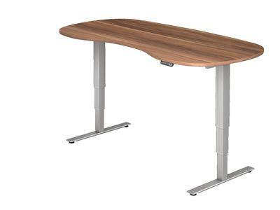 DR-Büro Steh-Sitzschreibtisch elektrisch höhenverstellbar bis max. 128 cm - Maße 200 x 100 cm - silberfarbenes Stahlgestell - Bürotisch in Nierenform - 7 Farbtöne – Bild 6