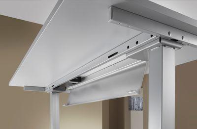 DR-Büro Steh-Sitzschreibtisch elektrisch höhenverstellbar bis max. 128 cm - Maße 200 x 100 cm - silberfarbenes Stahlgestell - Bürotisch in Nierenform - 7 Farbtöne – Bild 10